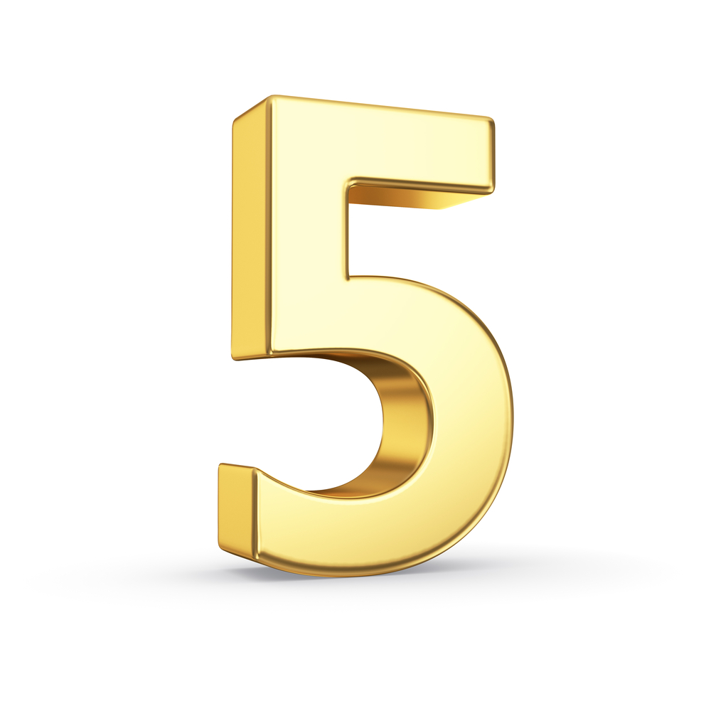 5 Numerology Gold Number 5 Clip Art Clipart